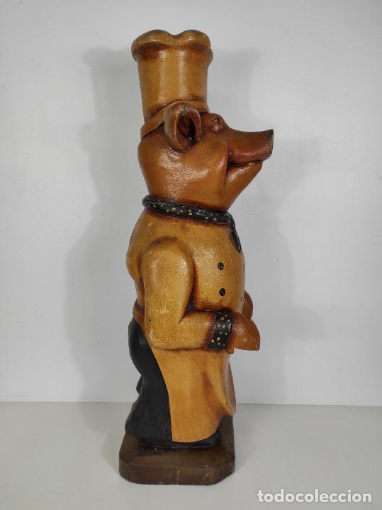 Arte: Divertido Cerdo de Antigua Carnicería - Madera Tallada y Policromada - Altura 85 cm - Foto 16 - 234458875