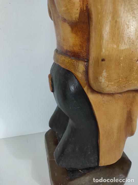 Arte: Divertido Cerdo de Antigua Carnicería - Madera Tallada y Policromada - Altura 85 cm - Foto 18 - 234458875