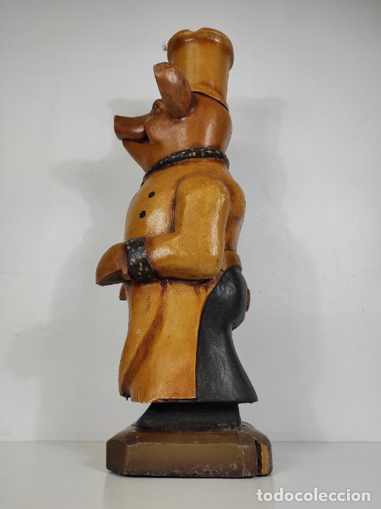 Arte: Divertido Cerdo de Antigua Carnicería - Madera Tallada y Policromada - Altura 85 cm - Foto 20 - 234458875