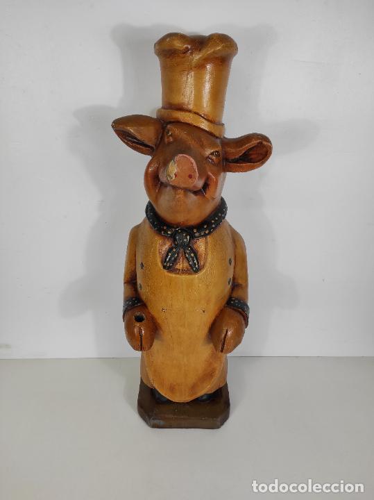 Arte: Divertido Cerdo de Antigua Carnicería - Madera Tallada y Policromada - Altura 85 cm - Foto 22 - 234458875