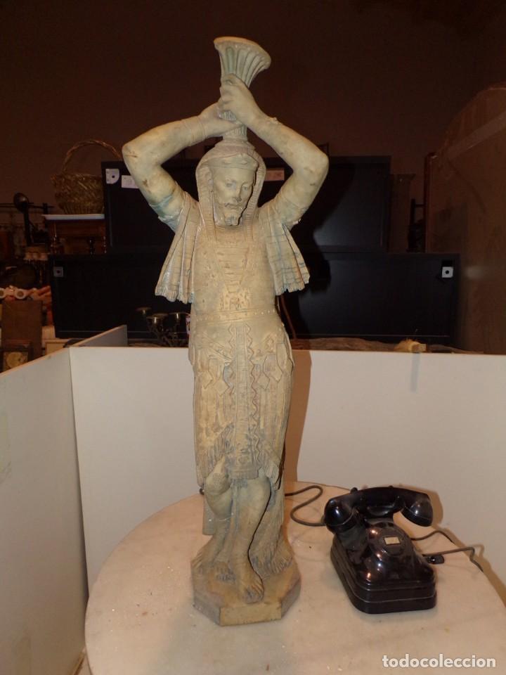 Arte: antigua escultura soldado parece egipcio de terracota de 92 cm altura ¿vallmitjana? - Foto 2 - 234703250
