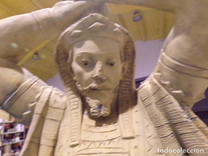 Arte: antigua escultura soldado parece egipcio de terracota de 92 cm altura ¿vallmitjana? - Foto 4 - 234703250