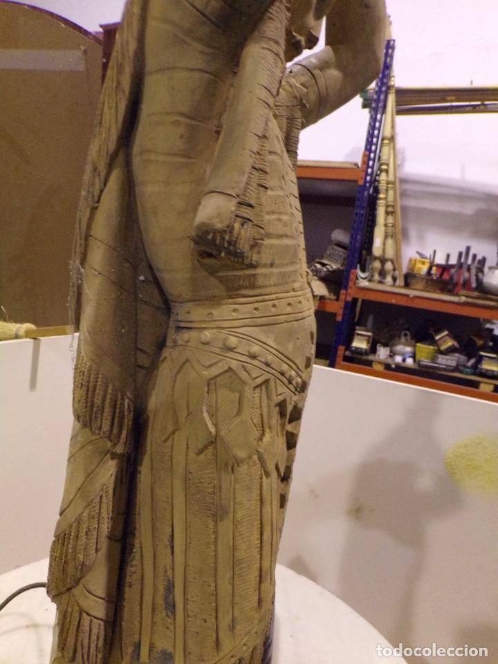 Arte: antigua escultura soldado parece egipcio de terracota de 92 cm altura ¿vallmitjana? - Foto 12 - 234703250