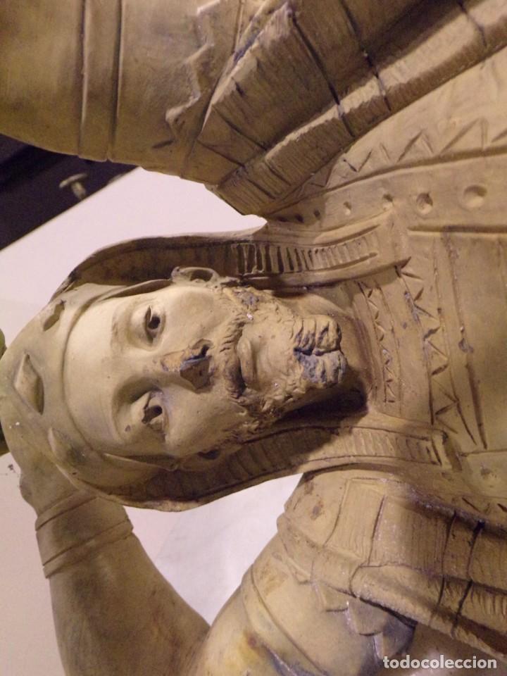 Arte: antigua escultura soldado parece egipcio de terracota de 92 cm altura ¿vallmitjana? - Foto 30 - 234703250