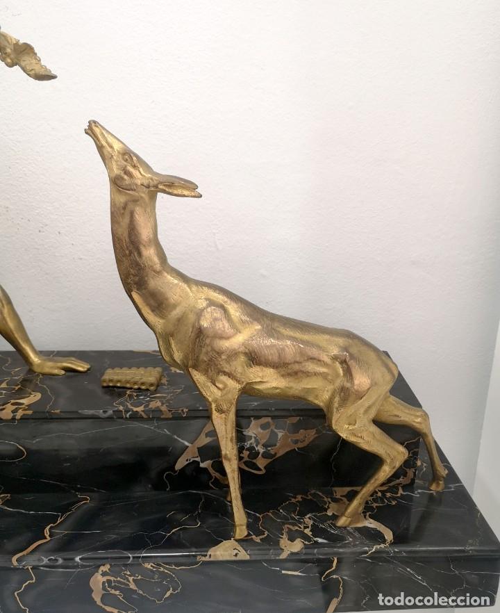 Arte: Art Deco Escultura Fauno Y Ciervo Bronce Mármol Autor Bouraine Tamaño Majestuoso - Foto 2 - 234978655