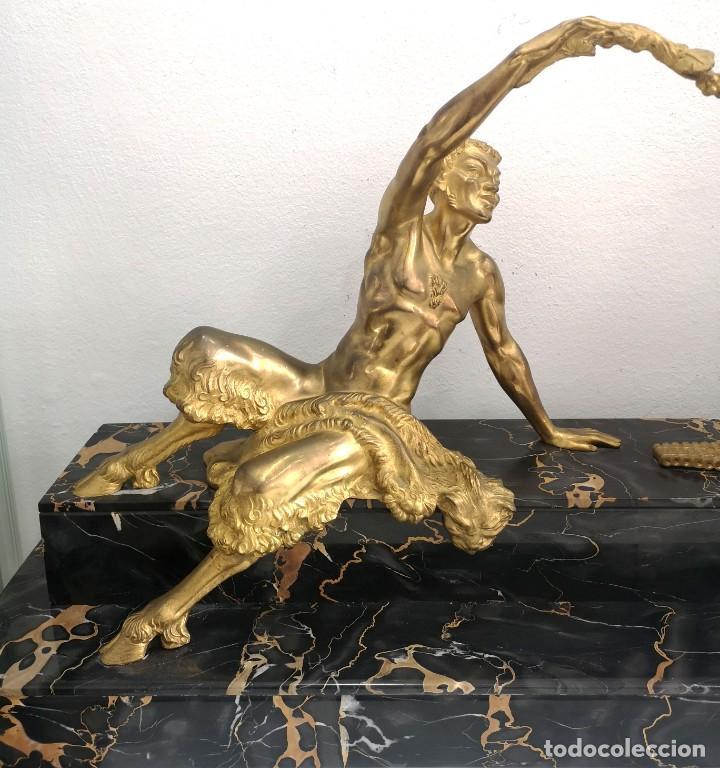 Arte: Art Deco Escultura Fauno Y Ciervo Bronce Mármol Autor Bouraine Tamaño Majestuoso - Foto 3 - 234978655