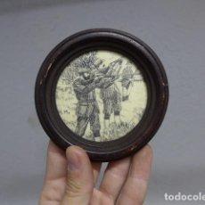 Arte: ANTIGUA ESCENA DE CAZA, TALLADA EN PARECE HUESO, FIRMADA HH, ORIGINAL. CAZADOR.. Lote 235194870