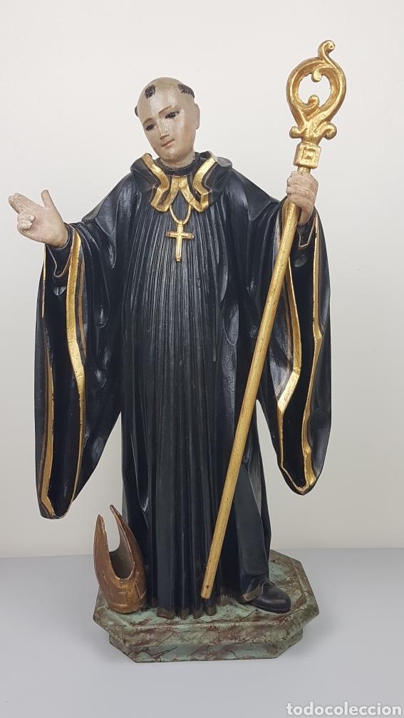 BONITA TALLA DE MADERA DE SAN BENITO. SIGLO XVIII. MEDIDAS: 53 CM. (Arte - Escultura - Madera)