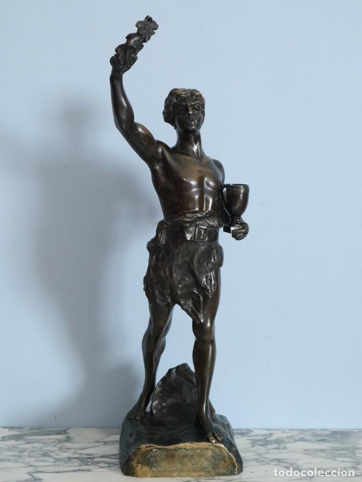 Arte: Corredor Victorioso. Charles Lemoyne (Francia 1783- 1873). Figura de bronce patinado. Mide 59 cm. - Foto 2 - 236047400