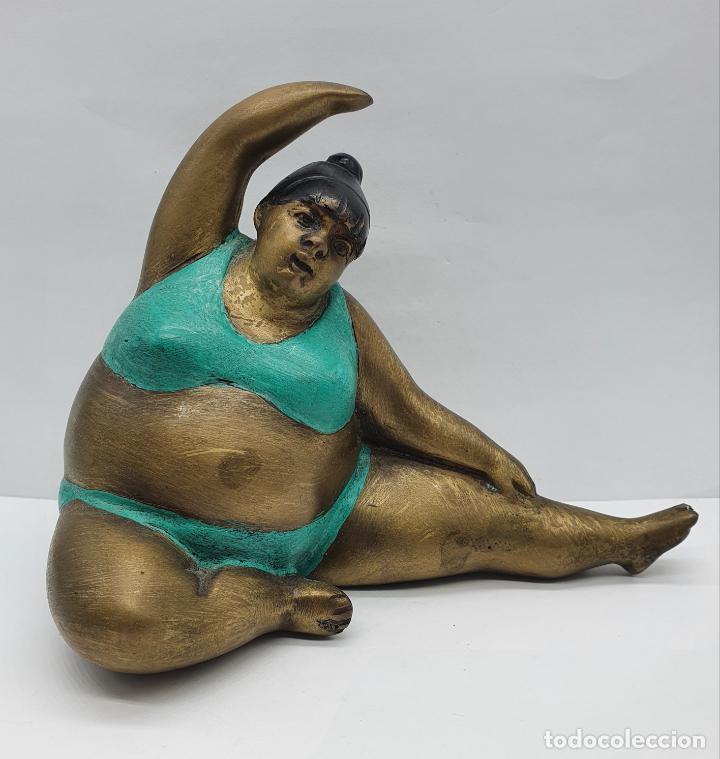 Arte: Bella escultura antigua de dama en traje de baño estilo botero en bronce parcialmente esmaltada . - Foto 6 - 236953660