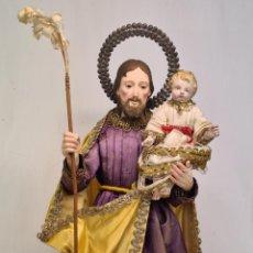 Arte: SAN JOSÉ CON EL NIÑO CAP Y POTA SIGLO XIX. Lote 237259500