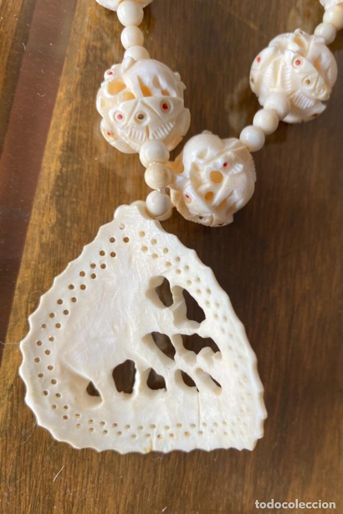 Arte: Collar decoración de elefantes y cuentas de marfil - Foto 4 - 238443180