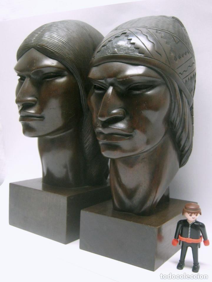 Arte: c.1930 pareja de esculturas Art Decó talla en madera de caoba. Cabezas nativos Bolivia. Firma Franco - Foto 4 - 188763358
