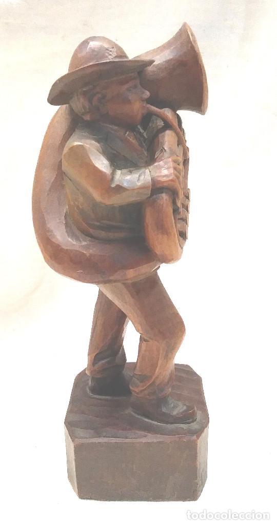Arte: Musico Tuba talla de madera. Med. 19 cm - Foto 2 - 241234935