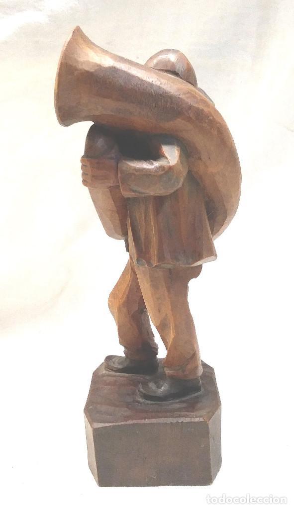 Arte: Musico Tuba talla de madera. Med. 19 cm - Foto 4 - 241234935