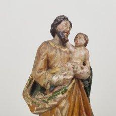 Arte: TALLA DE MADERA SAN JOSÉ CON NIÑO. ESCUELA ESPAÑOLA SIGLO XVIII. ALTURA 25 CM.. Lote 241243955
