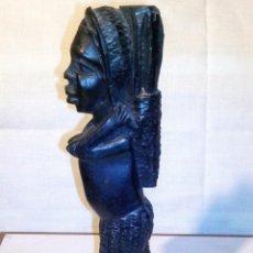 Arte: ~~~~ PRECIOSA TALLA ÉTNICA DE MADERA, MUJER AFRICANA, MIDE 21 X 5 CM. ~~~~. Lote 242898130
