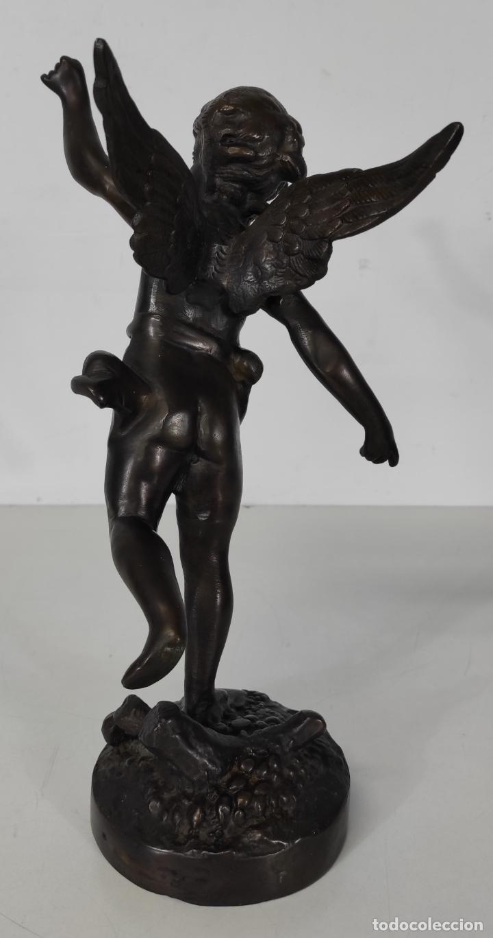 Arte: Preciosa Escultura - Ángel Querubín - Figura en Bronce Cincelado - Altura 35 cm - Foto 4 - 243536465