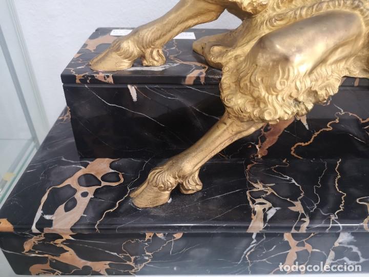 Arte: Art Deco Escultura Fauno Y Ciervo Bronce Mármol Autor Bouraine Tamaño Majestuoso - Foto 7 - 234978655
