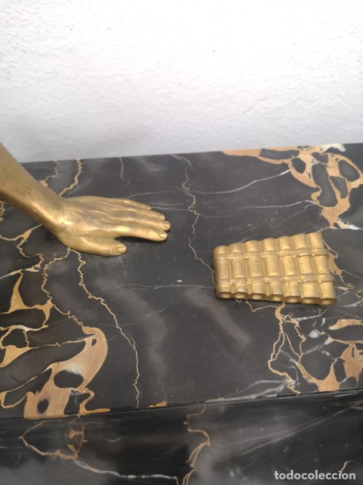 Arte: Art Deco Escultura Fauno Y Ciervo Bronce Mármol Autor Bouraine Tamaño Majestuoso - Foto 8 - 234978655