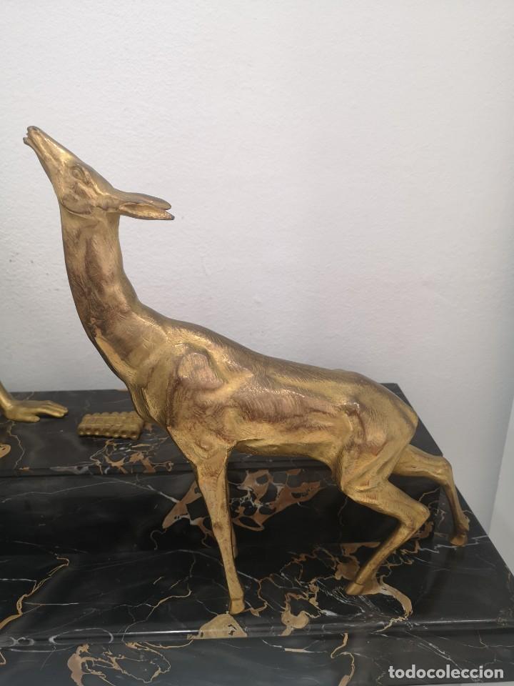 Arte: Art Deco Escultura Fauno Y Ciervo Bronce Mármol Autor Bouraine Tamaño Majestuoso - Foto 14 - 234978655