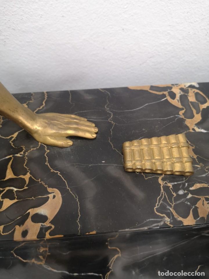 Arte: Art Deco Escultura Fauno Y Ciervo Bronce Mármol Autor Bouraine Tamaño Majestuoso - Foto 19 - 234978655