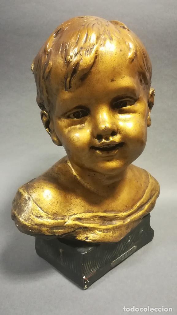 TERRACOTA CON ESTUCO BABY NOVELLA FIRMADO CLARIANI J B PARIS NUMERADA (Arte - Escultura - Terracota )