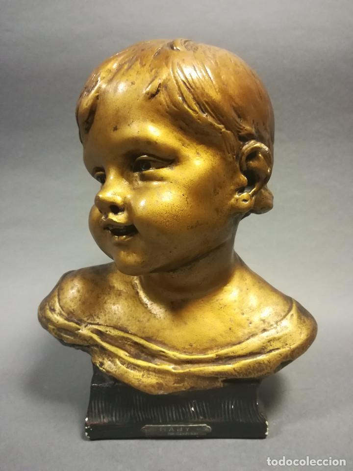 Arte: TERRACOTA CON ESTUCO BABY NOVELLA FIRMADO CLARIANI J B PARIS NUMERADA - Foto 2 - 245028480