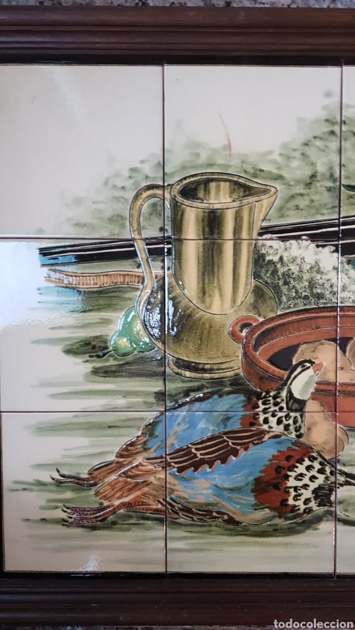 Arte: Cuadro de pintura en cerámica escena de caza, bodegon 12 azulejos 15×15cm, firmado, Torres. - Foto 2 - 245391395