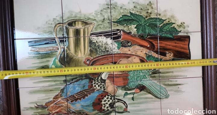 Arte: Cuadro de pintura en cerámica escena de caza, bodegon 12 azulejos 15×15cm, firmado, Torres. - Foto 4 - 245391395