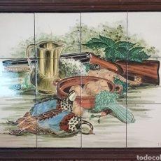 Arte: CUADRO DE PINTURA EN CERÁMICA ESCENA DE CAZA, BODEGON 12 AZULEJOS 15×15CM, FIRMADO, TORRES.. Lote 245391395