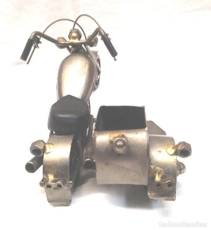 Arte: Chooper con Sidecar Artesania en Acero y hierro. Med. 18 cm - Foto 2 - 247817635