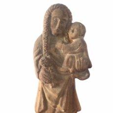 Arte: ANTIGUA VIRGEN MARÍA Y NIÑO JESÚS TALLADA DE PIEDRA.. Lote 248694620