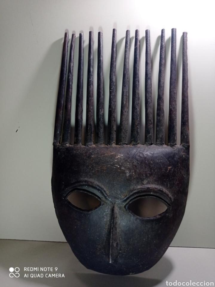 MÁSCARA CARETA DE HIERRO, ARTE ÉTNICO. BONITO TRABAJO, IDEAL DECORACIÓN. (Arte - Escultura - Hierro)