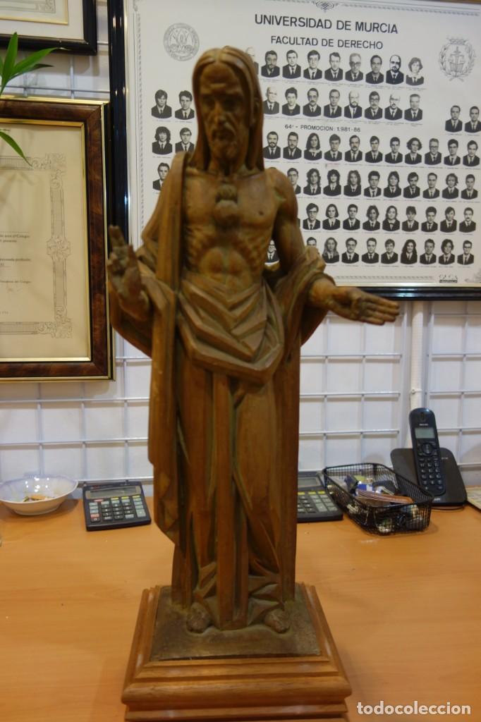 ESCULTURA DE EL SAGRADO CORAZON DE MADERA DE PRINCIPIOS DEL SIGLO XX (Arte - Escultura - Madera)