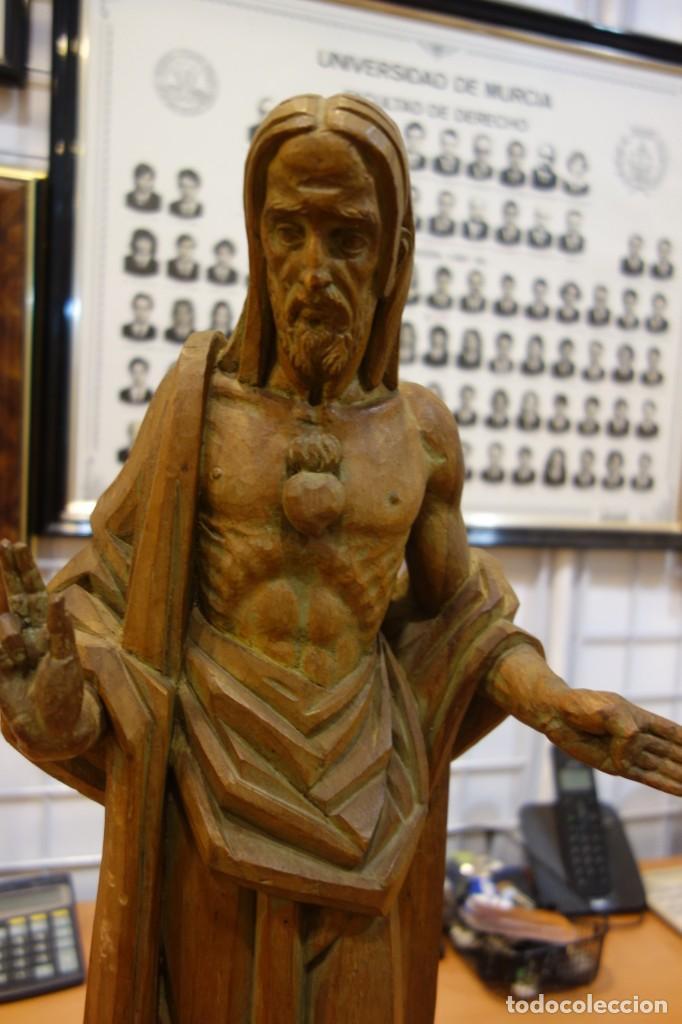 Arte: ESCULTURA DE EL SAGRADO CORAZON DE MADERA DE PRINCIPIOS DEL SIGLO XX - Foto 2 - 250258350