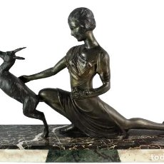 Arte: JOAN SALVADÓ VOLTAS. BRONCE - BRONZE - ART DECÓ. DAMA - WOMAN WITH GOAT. PARIS CA 1930. Lote 241914575