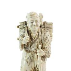 Arte: TALLA EN MARFIL CON TINTURA. OKIMONO. JAPÓN JAPAN CA 1900. IVORY CARVED AND TINTED SCULPTURE.. Lote 247035325