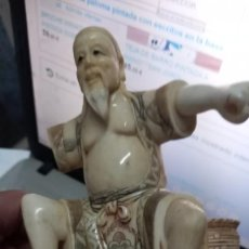 Arte: FIGURA OKIMONO DE MARFIL JAPÓN O CHINA PESCADOR MUY ANTIGUA MÁS DE 100 AÑOS POLICROMADA CALIDAD. Lote 254033225