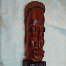 Arte: ¿GAMBALA? BUSTO CABEZA AFRICANA TALLADA EN MADERA. Lote 254184360