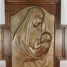 Arte: VIRGEN MARIA CON EL NIÑO. FREDERIC MARES DEULOVOL. ESCULTURA EN BRONCE. SIGLO XX. Lote 254893850
