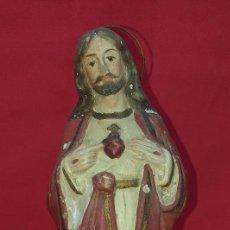 Arte: IMAGEN CORAZÓN DE JESÚS DE TERRACOTA SIGLO XIX. Lote 255337635
