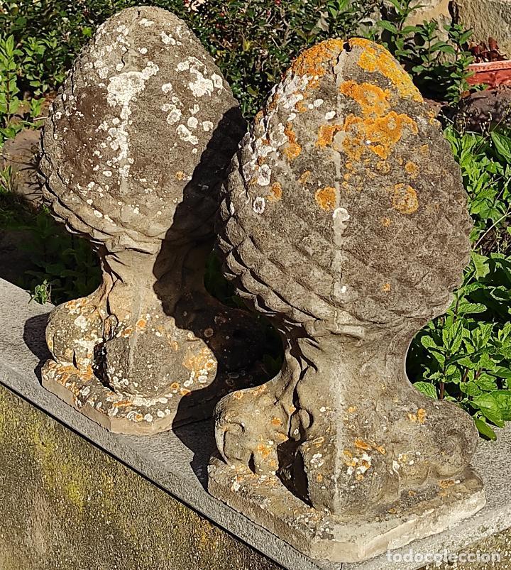 Arte: Antigua Decoración de Entrada para Pilares, Jardín - Pareja de Piñas - Finales S. XIX - Foto 9 - 256019680