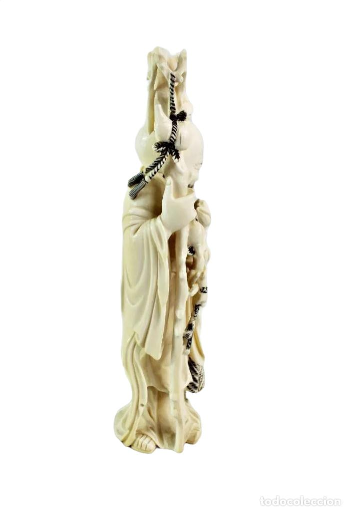 Arte: Talla en marfil con tintura. China ca 1900. Ivory carved and tinted sculpture. Shou Lao - Foto 4 - 247034795
