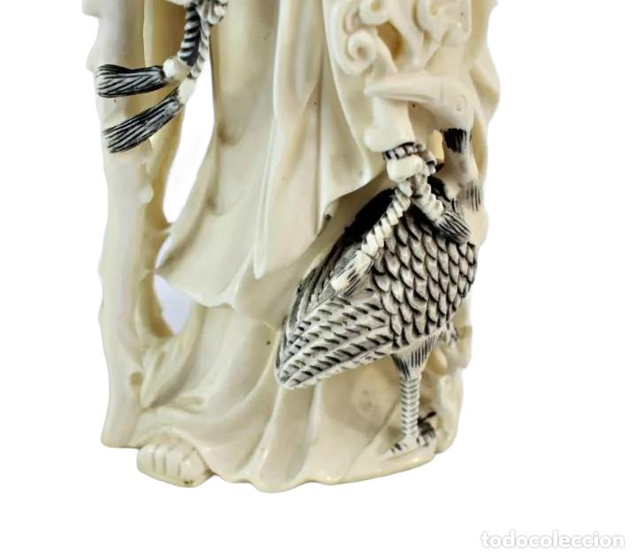 Arte: Talla en marfil con tintura. China ca 1900. Ivory carved and tinted sculpture. Shou Lao - Foto 6 - 247034795