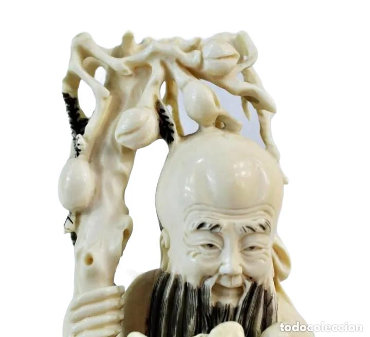 Arte: Talla en marfil con tintura. China ca 1900. Ivory carved and tinted sculpture. Shou Lao - Foto 7 - 247034795
