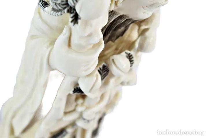 Arte: Talla en marfil con tintura. China ca 1900. Ivory carved and tinted sculpture. Shou Lao - Foto 9 - 247034795