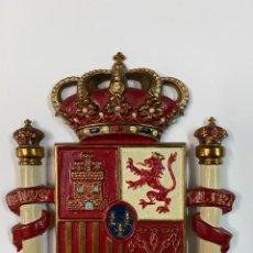 Arte: PLACA DE BRONCE DE LA BANDERA DE ESPAÑA. 14X13 CM. EMBAJADA.. Lote 257987295