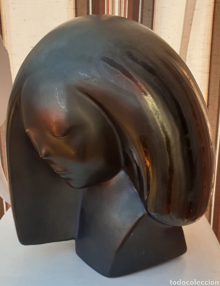 ESCULTURA BUSTO CERÁMICA VALENCIANA MANISES DE ISMAEL CASES (Arte - Escultura - Porcelana)