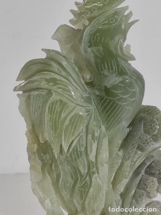 Arte: Bonita Escultura - Talla en Jade - Peana de Madera - Altura - 36 cm - Foto 7 - 261563155